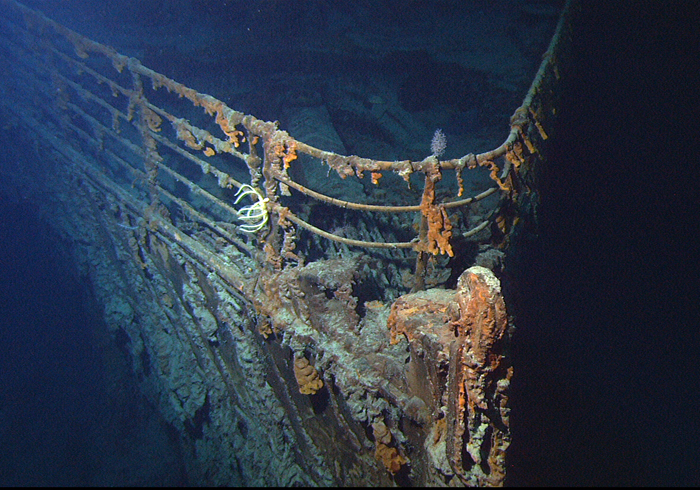 Bow of the RMS Titanic, 2004. (Courtesy of NOAA/IFE/URI).