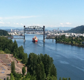 The Lower Willamette River in Portland, Oregon.