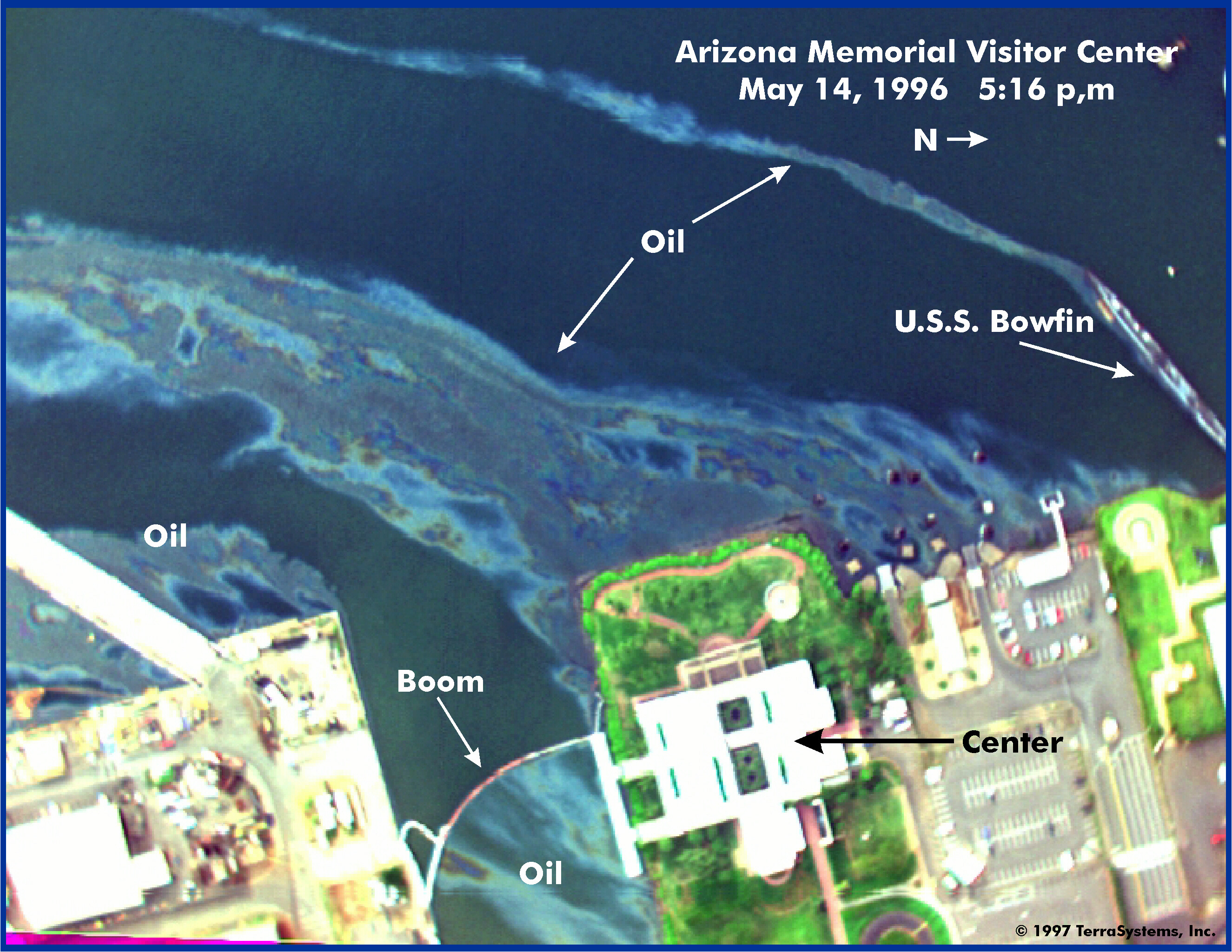Aerial view of USS Arizona Memorial Visitor Center, on the shoreline of East Loch, Pearl Harbor, Oahu, Hawaii (Courtesy of NOAA).