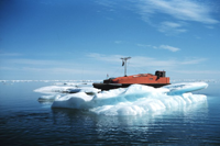 An orange boat accentuated by the blue water and bright white ice berg